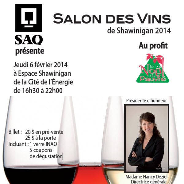 Salon des vins de shawinigan 2014 jeudi 6 f vrier for Salon 86 shawinigan